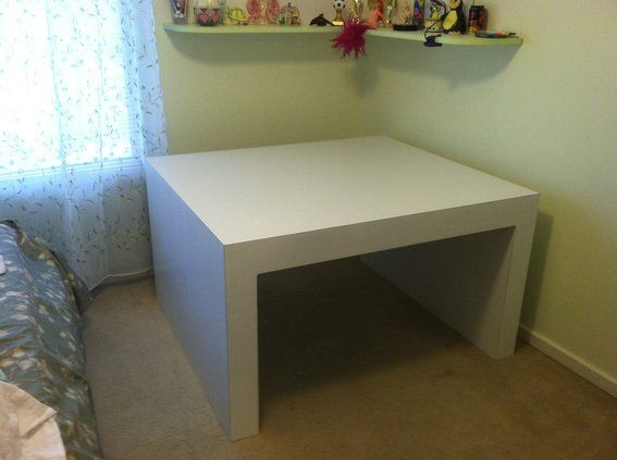 Custom Made Corner Parsons Table For Twin Bed To Slide Under