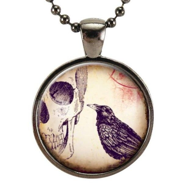 Raven Skull Necklace, Crow Charm, Halloween Jewelry, Halloween Costume... ($15) ❤ liked on Polyvore featuring jewelry, necklaces, charm pendants, goth jewelry, charm necklaces, pendant necklace and gothic pendants