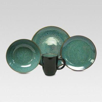 Belmont Stoneware 16pc Dinnerware Set Green Threshold Stoneware Dinnerware Dinnerware Set Stoneware Dinnerware Sets