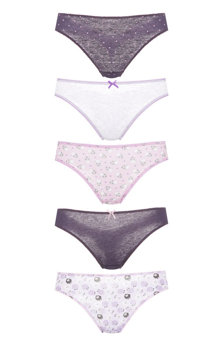 Primark - Pack 5 bragas con ovejitas color púrpura 4,5€ | Girls ...