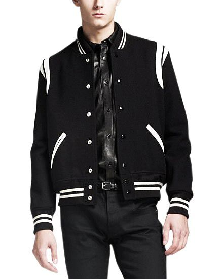 Black Letterman Jacket With White Detailing Black Letterman Jacket Mens Outdoor Jackets Letterman Jacket