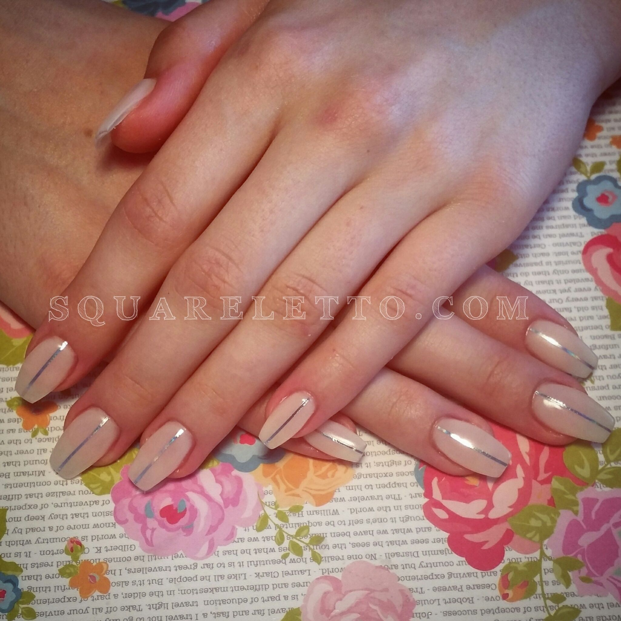 nude and silver nail design by squareletto.com   Nail It   Pinterest ...