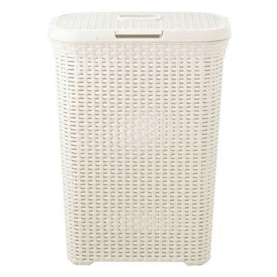 Slim Faux Rattan Laundry Basket 40 Litre With Images Laundry