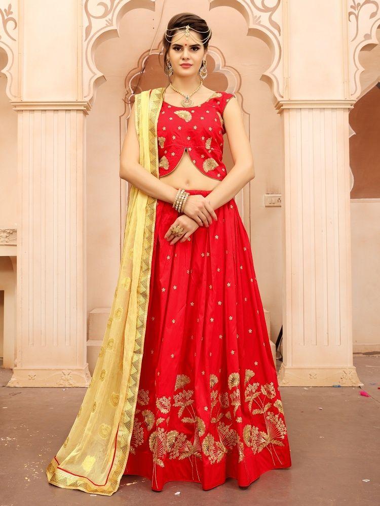 Pin by Joshindia.com on Red Lehengas | Silk lehenga ...
