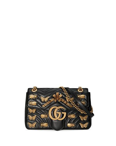 7344fec06130eb GUCCI GG MARMONT 2.0 MEDIUM INSECT SHOULDER BAG, BLACK. #gucci #bags # shoulder bags #lining #suede #