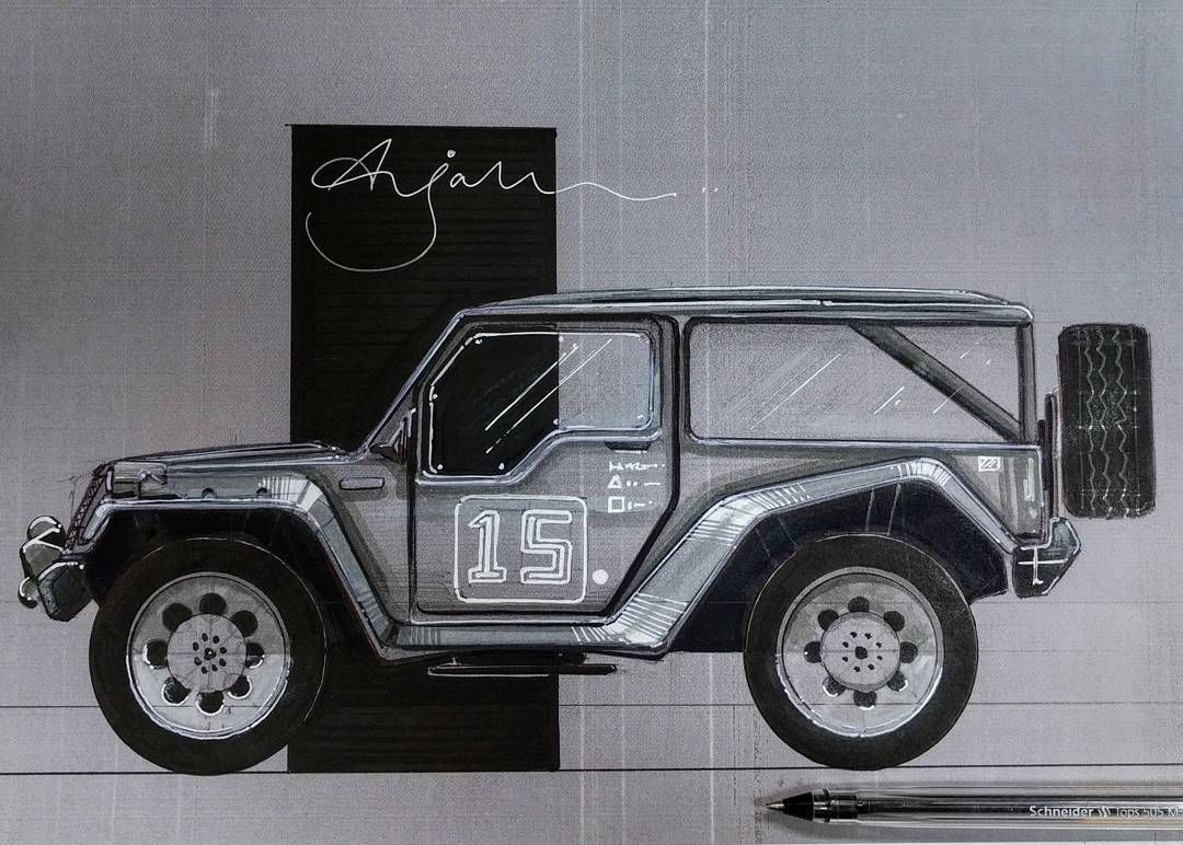 "Arjak Mitra บน Instagram: ""Rover concept.#automobiledesign #industrialdesign #inspiration #practice #handrender"""