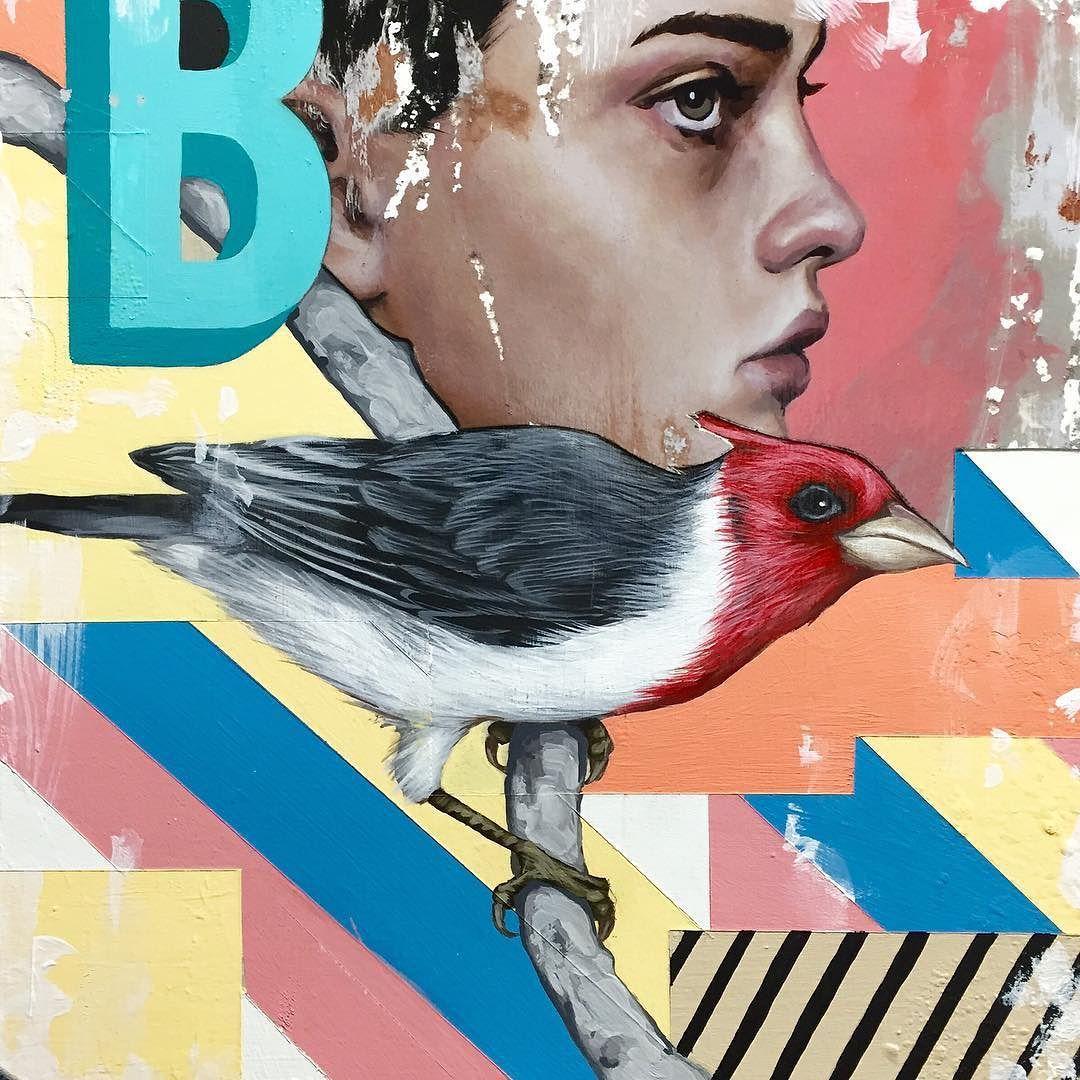 """B Is For Bird"". Friday night painting. #art #painting #bird #mixedmedia by richardsalcido"