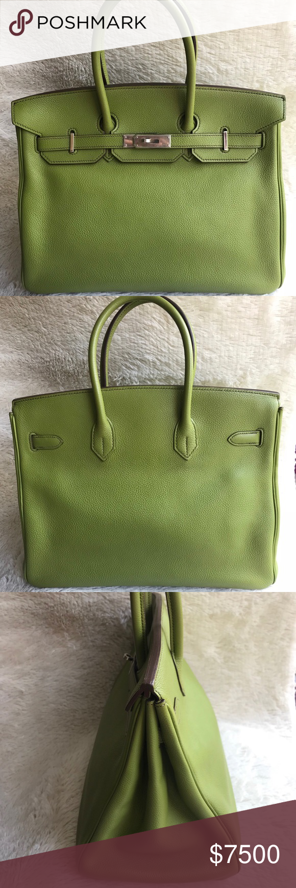 6c0f7a71b2 Authentic Hermes Birkin 35 Vert Anis Togo Gold In good pre-owned condition.  Clean interior   exterior no scratches at 4 corners. Togo leather gold  hardware ...