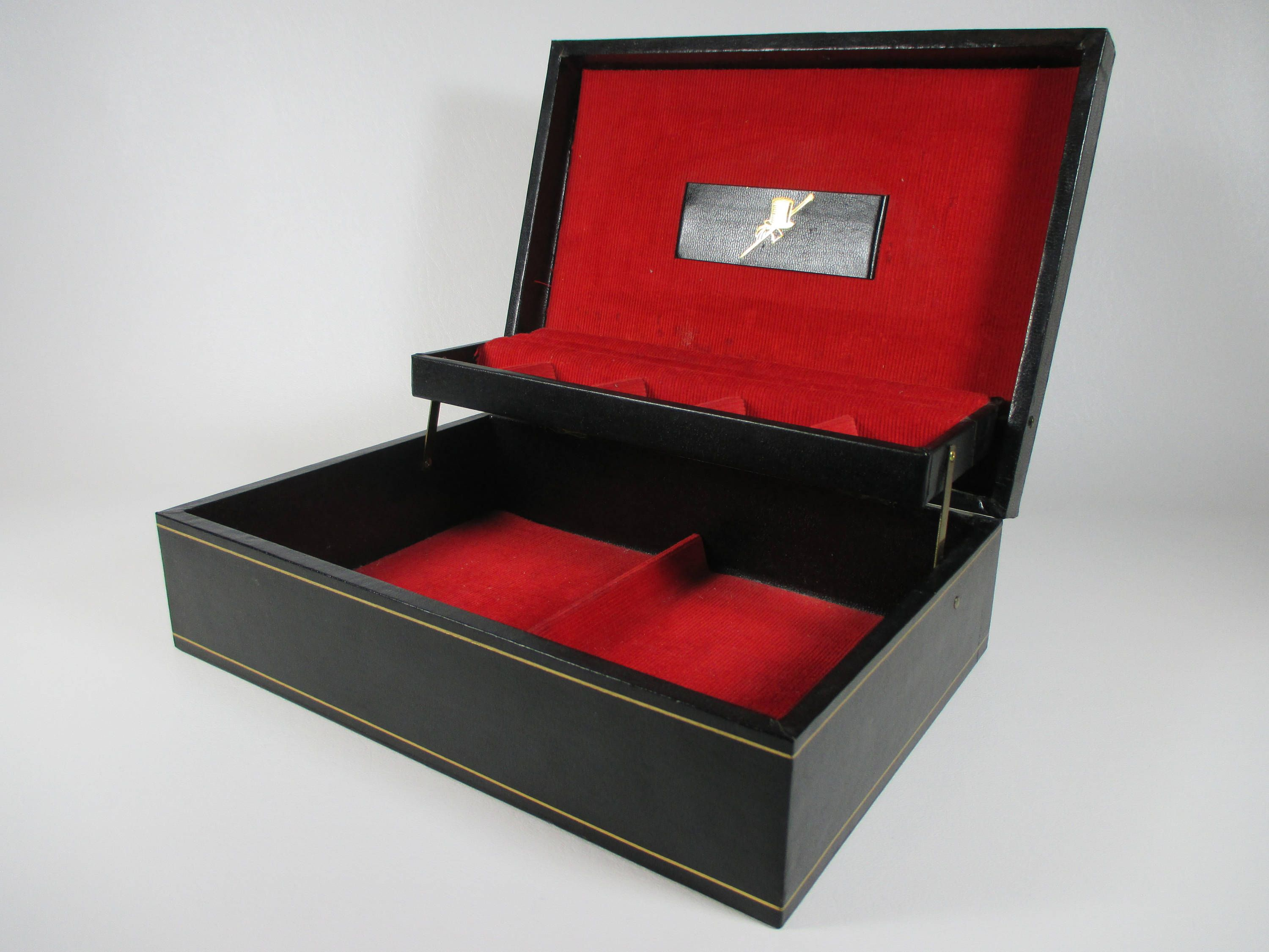 Mens Vintage Jewelry Valet Large Black Jewelry Box Two Tiered