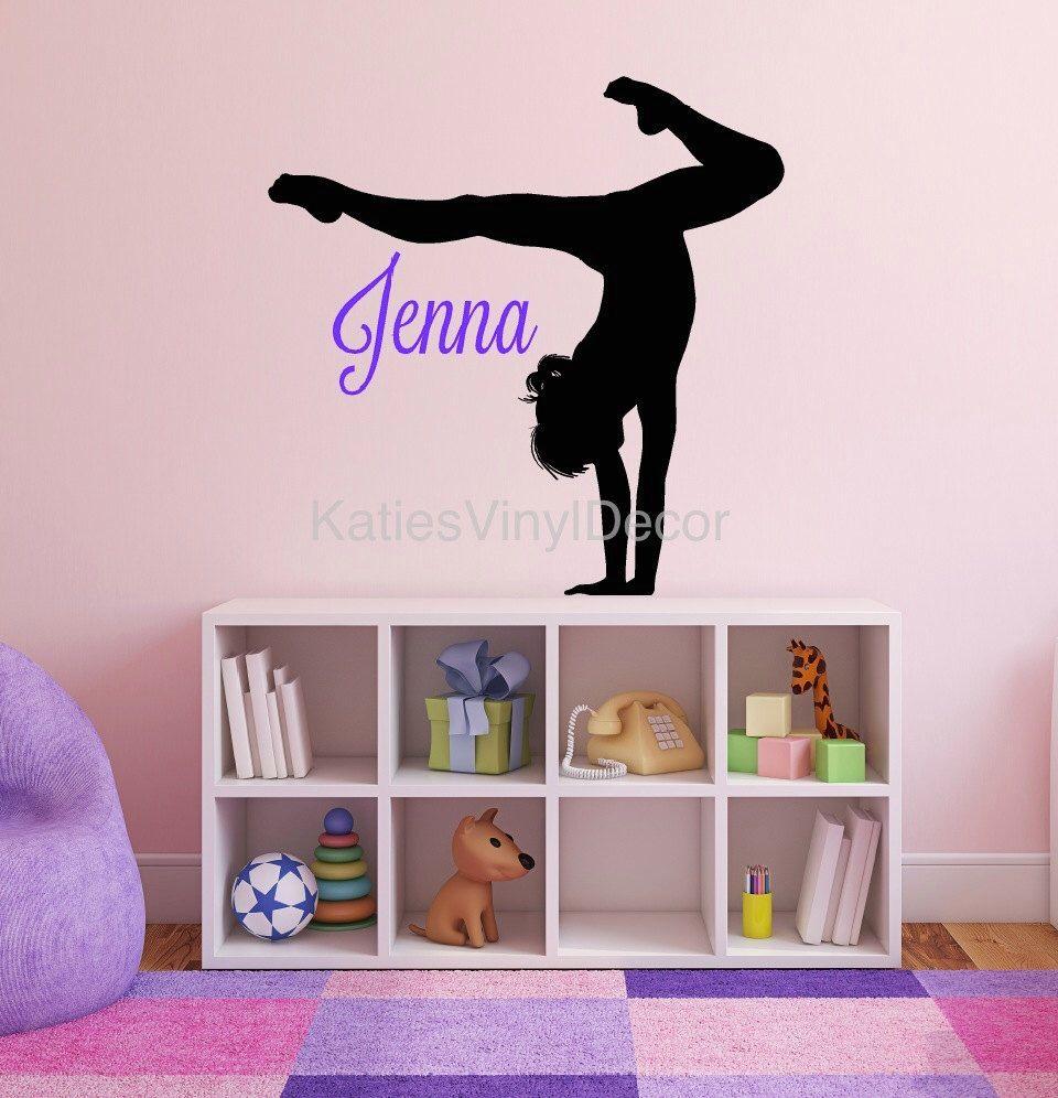 Gymnastics Wall Art personalized gymnastics decor - gymnastics wall decal - name wall