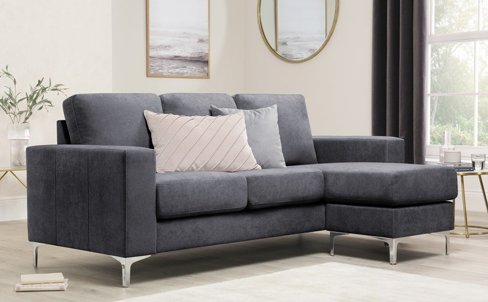 Baltimore Slate Grey Plush Fabric L Shape Corner Sofa In 2020 Corner Sofa Grey Leather Sofa Sofa Furniture