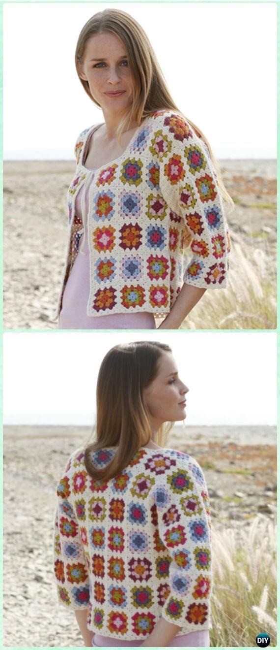 Crochet Summer Patchwork Granny Square Jacket Padrão grátis ...