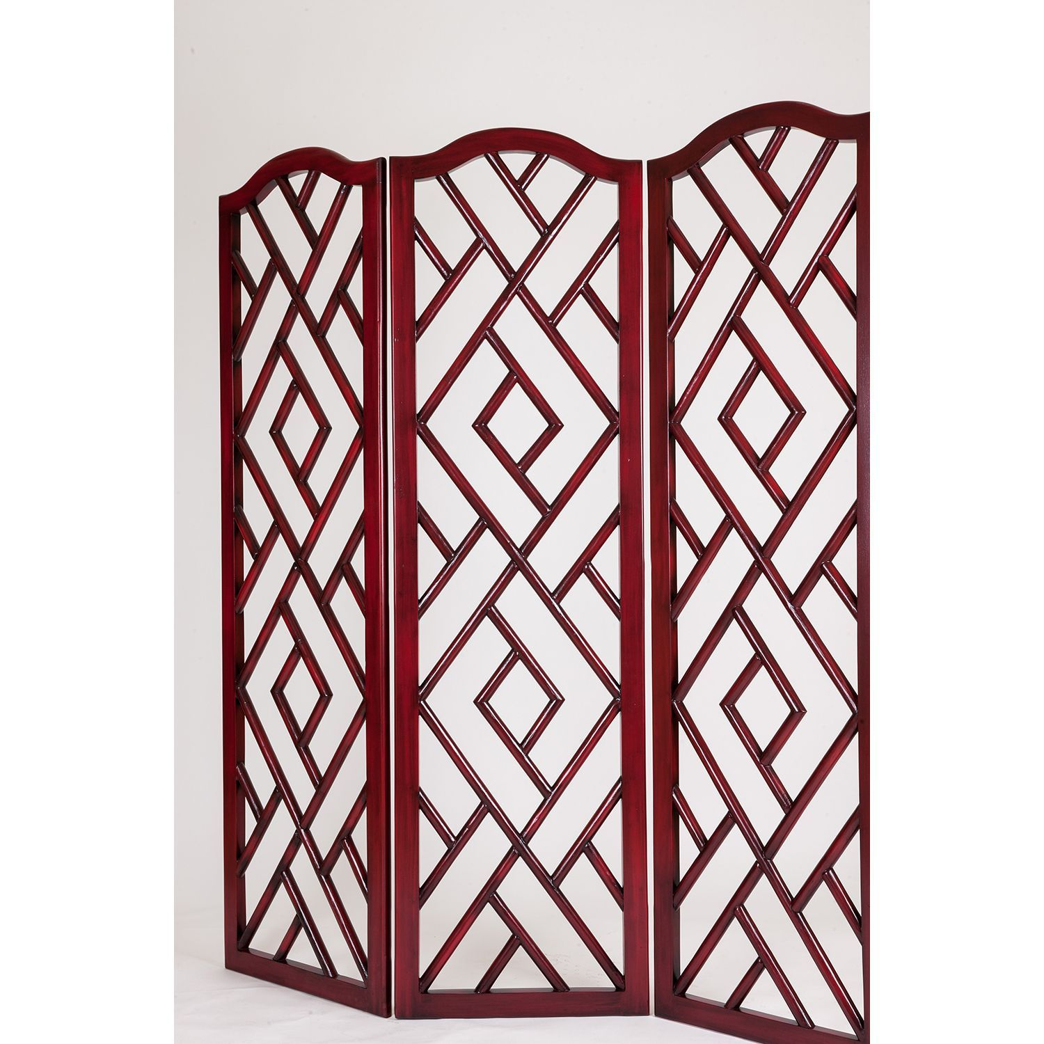 Red Wood Chinese Chippendale Screen Chineese Red Chippendale Screen