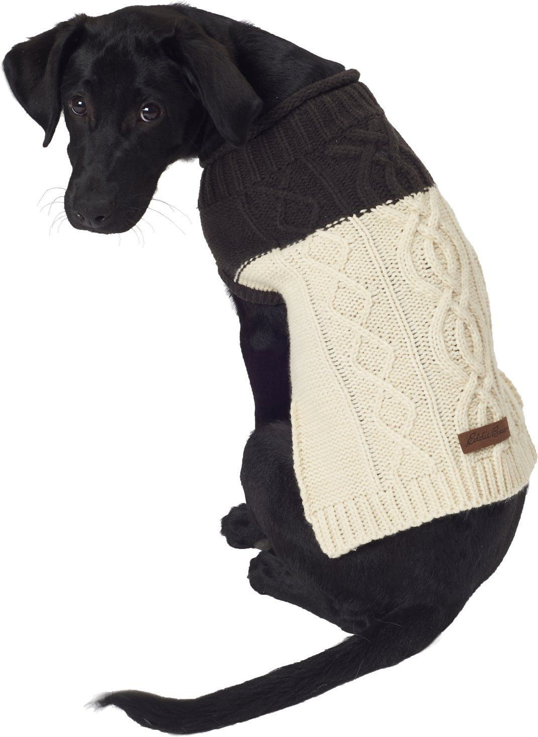 Eddie Bauer Two Tone Cable Dog Sweater In Cocoa Parchment 1985