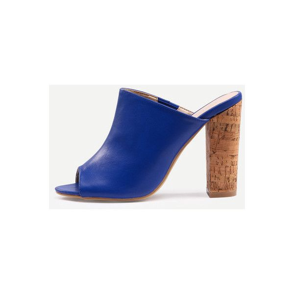 2eb16376ff0e SheIn(sheinside) Blue Faux Leather Block Heel Mules (19 BAM) ❤ liked on  Polyvore featuring shoes