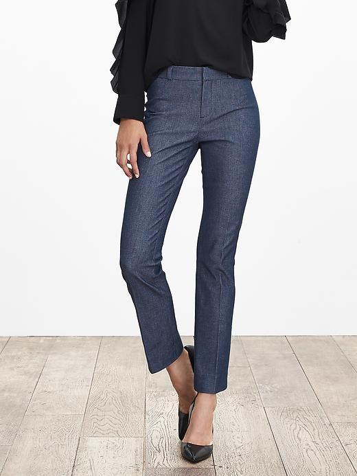 9b67ebc92 Sloan-Fit CHAMBRAY Kick-Flare Ankle Pant | Banana Republic | Wear to ...