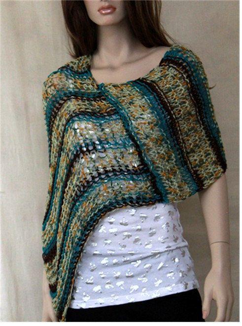 Women Hand Knit Pocho  Summer Loose Knit Wrap  by endlesscreation, $29.95
