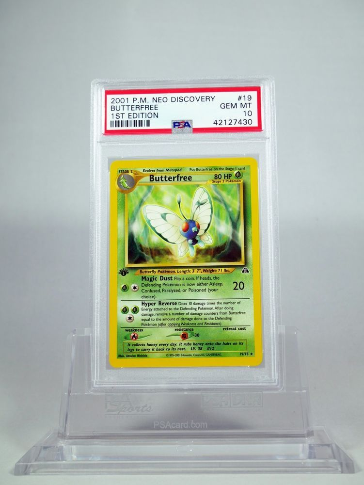 Psa 10 gem mint 1st edition butterfree neo discovery 19