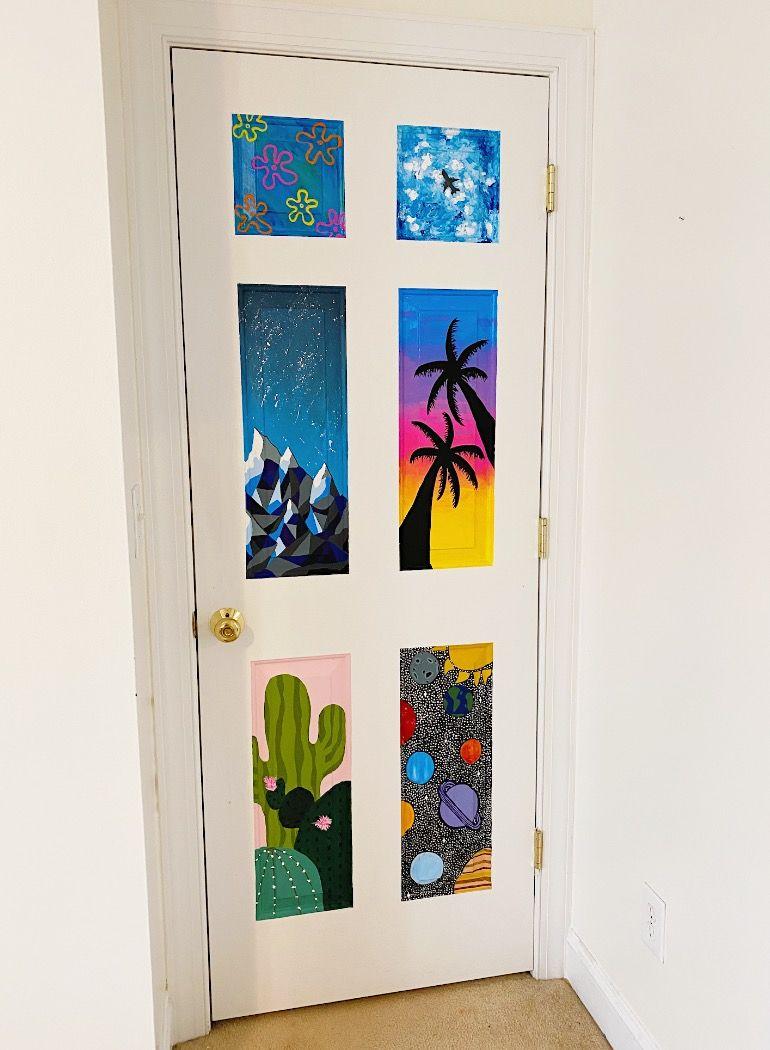 Door Painting In 2020 Art Room Doors Painted Bedroom Doors Cute Bedroom Decor