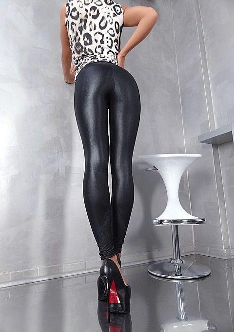 c1c16d1acb1c Unique Stretch Schwarz Glanz LEG1 Damen Perfect Fit Pants Hose Leggings  Black