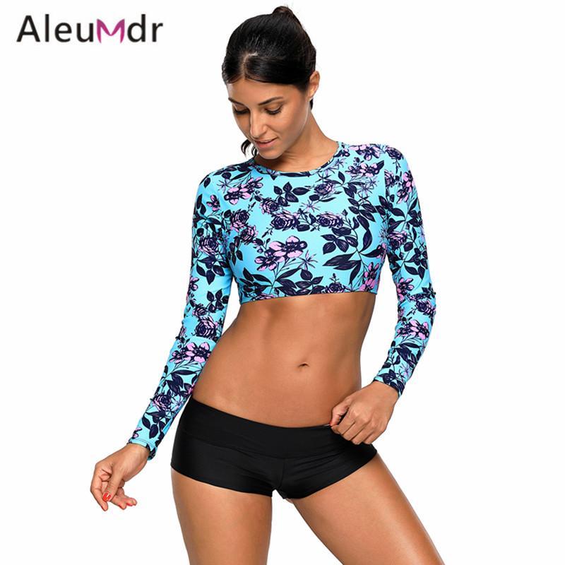 0177598a96 Aleumdr Swimwear Women Bikini Set 2018 Long Sleeve Print Backless Crop Top  With Women Swimsuit Bottoms Bathing Suits LC410475