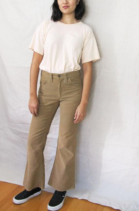 90125ed8 Vintage 70s Lee Corduroy Pants - Tan Brown Womens Corduroy Pants - Flare  Leg Corduroys - Vintage Lee
