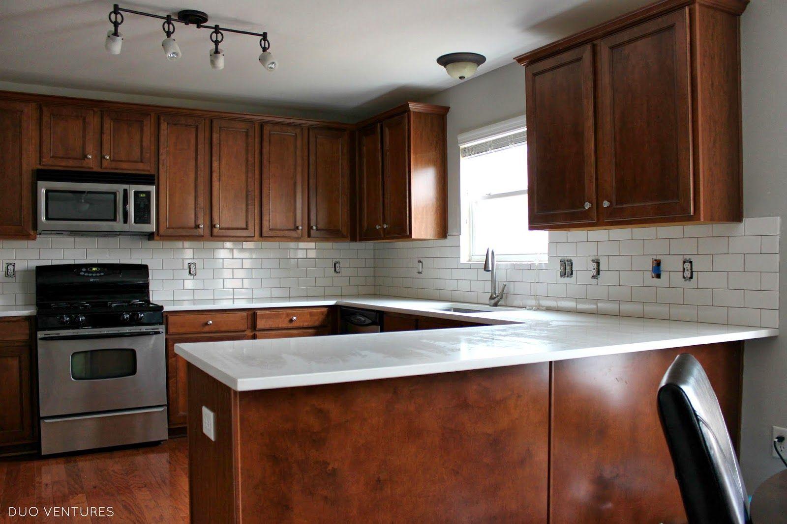 Duo ventures kitchen makeover subway tile backsplash