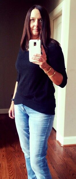 Fix #9 Skies are Blue Kendruh Layered Hem Knit Top. The fabric is amazing and what a fun hem. Love! #stitchfix