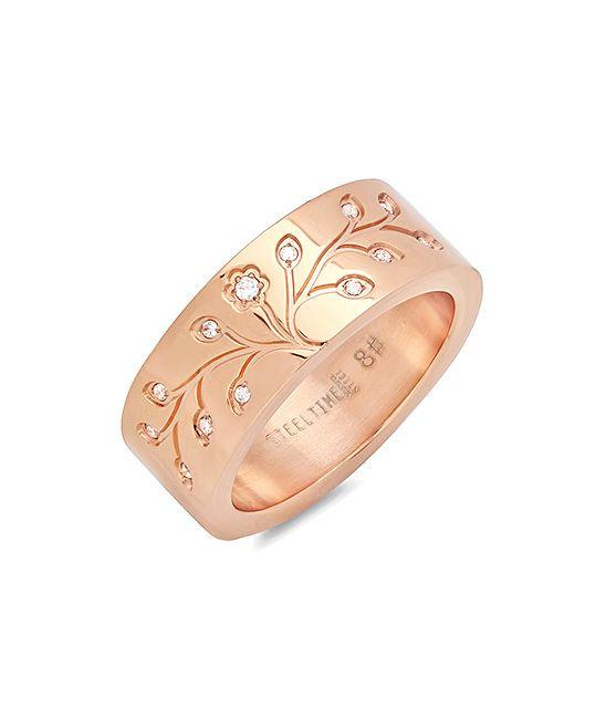 Diamond & Rose Gold Tree of Life Ring