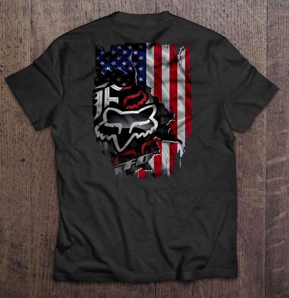 Fox Racing American Flag Version Gift Trending Design T