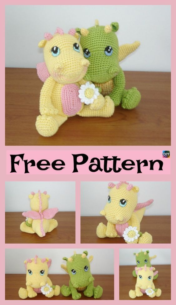 Crochet Baby Dragon - Free Pattern #crochetdinosaurpatterns