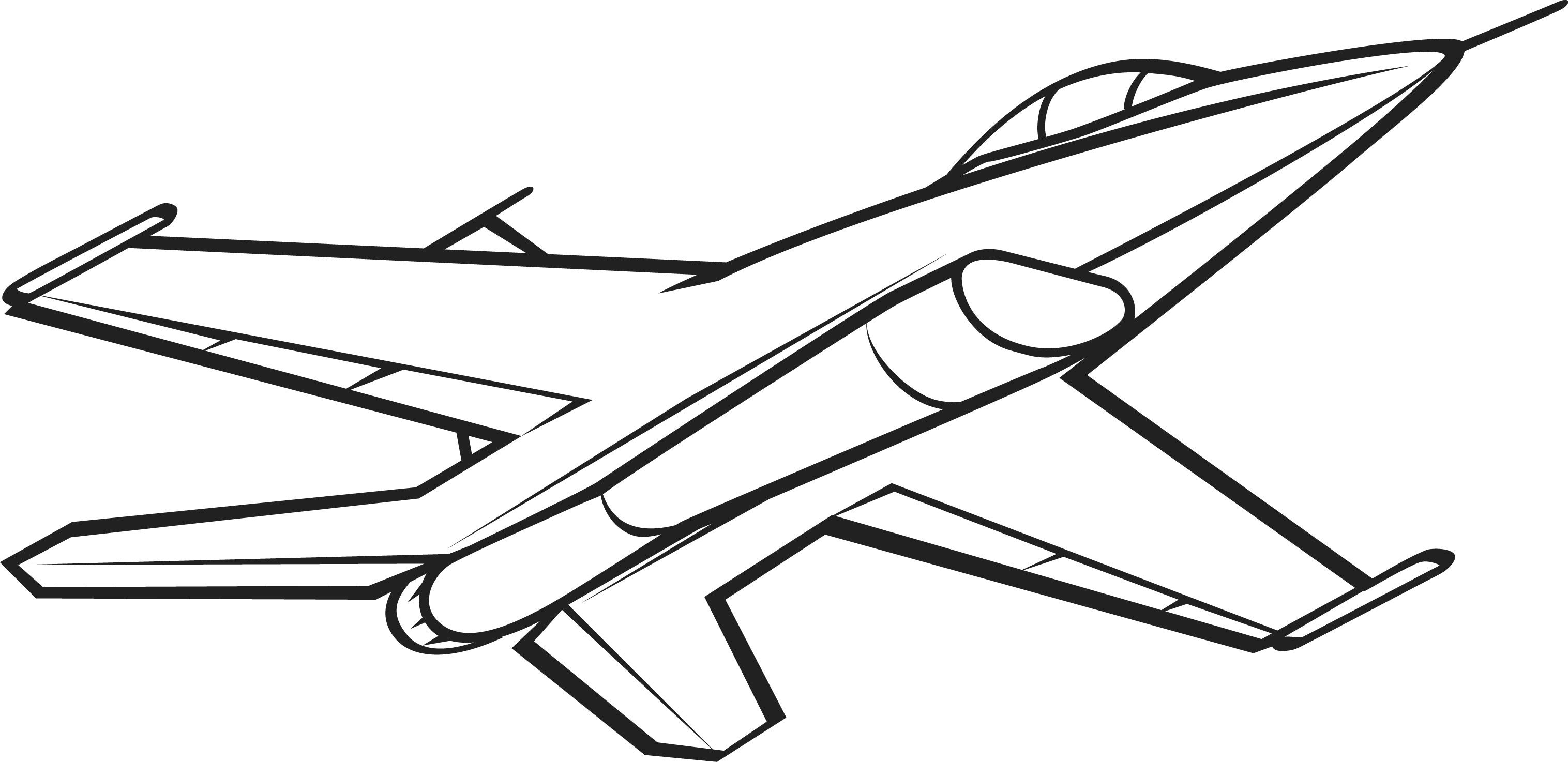 black and white jet picture for coloring airplane coloring pages