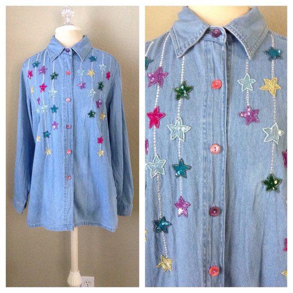 Vintage 90s light denim embroidered shirt / by CrystalsCloset74