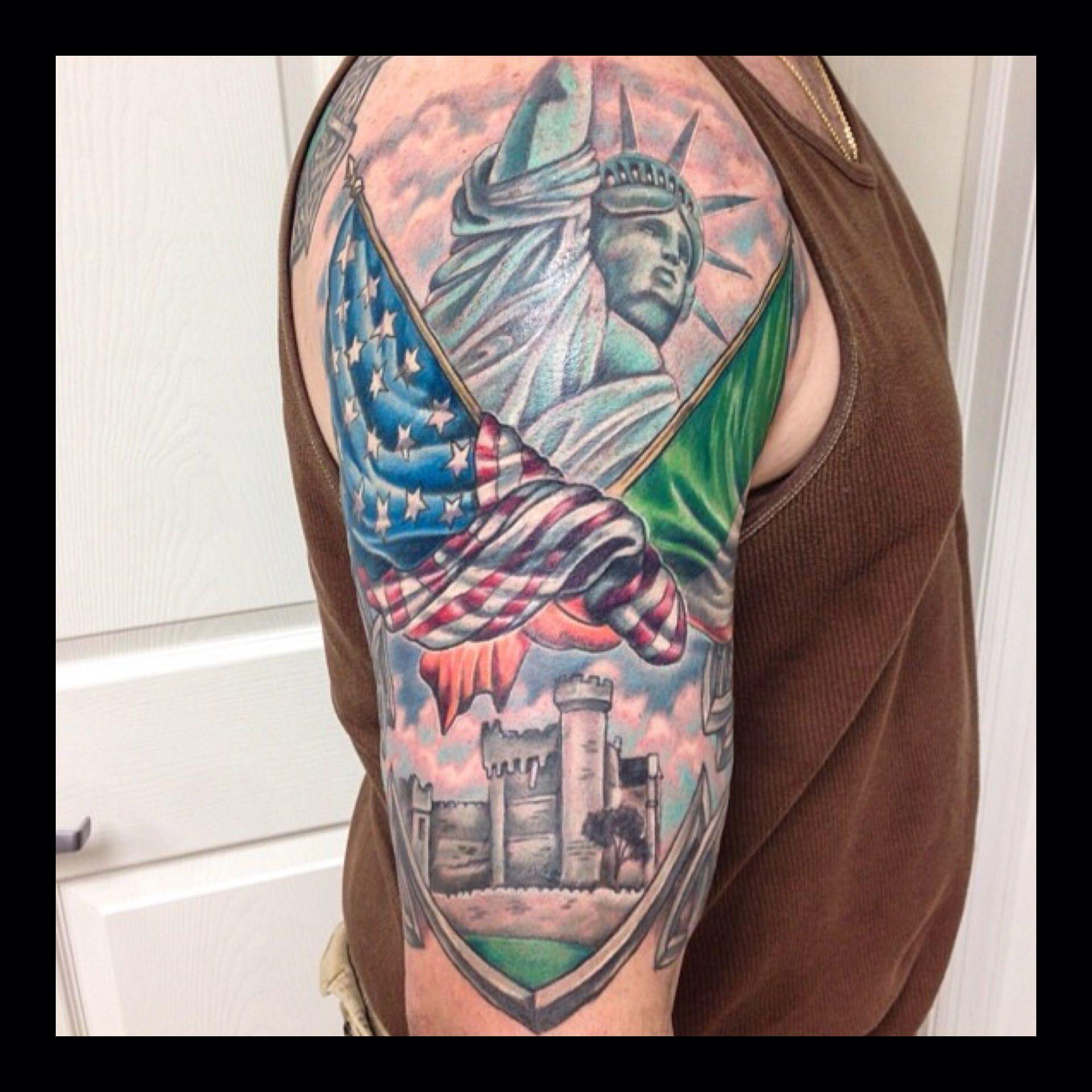 Irish American Half Sleeve Tattoo By Alex Follow Him On Instagram