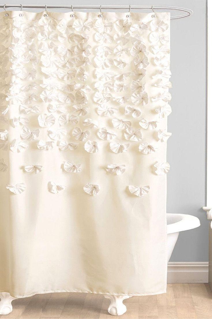Shabby Chic Charmeuse Ivory Shower Curtain Fabric Shower
