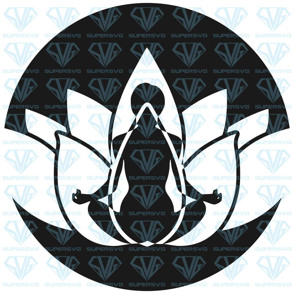 Lotus Flower Meditation SVG Files For Silhouette, Files