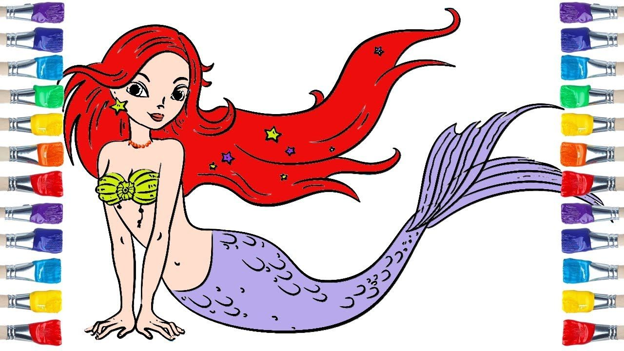 How To Draw A Cute Mermaid Draw Colour For Kids Mermaid Drawings Cute Mermaid Coloring For Kids