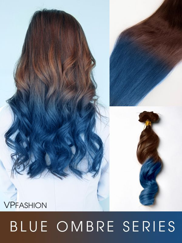 Shop For The Bestvpfashion Blue Shade Colorful Ombre Indian Remy Clip In Hair Extensions Series C031 C031 At Vpfa Hair Dye Tips Brown Hair Dye Blue Tips Hair