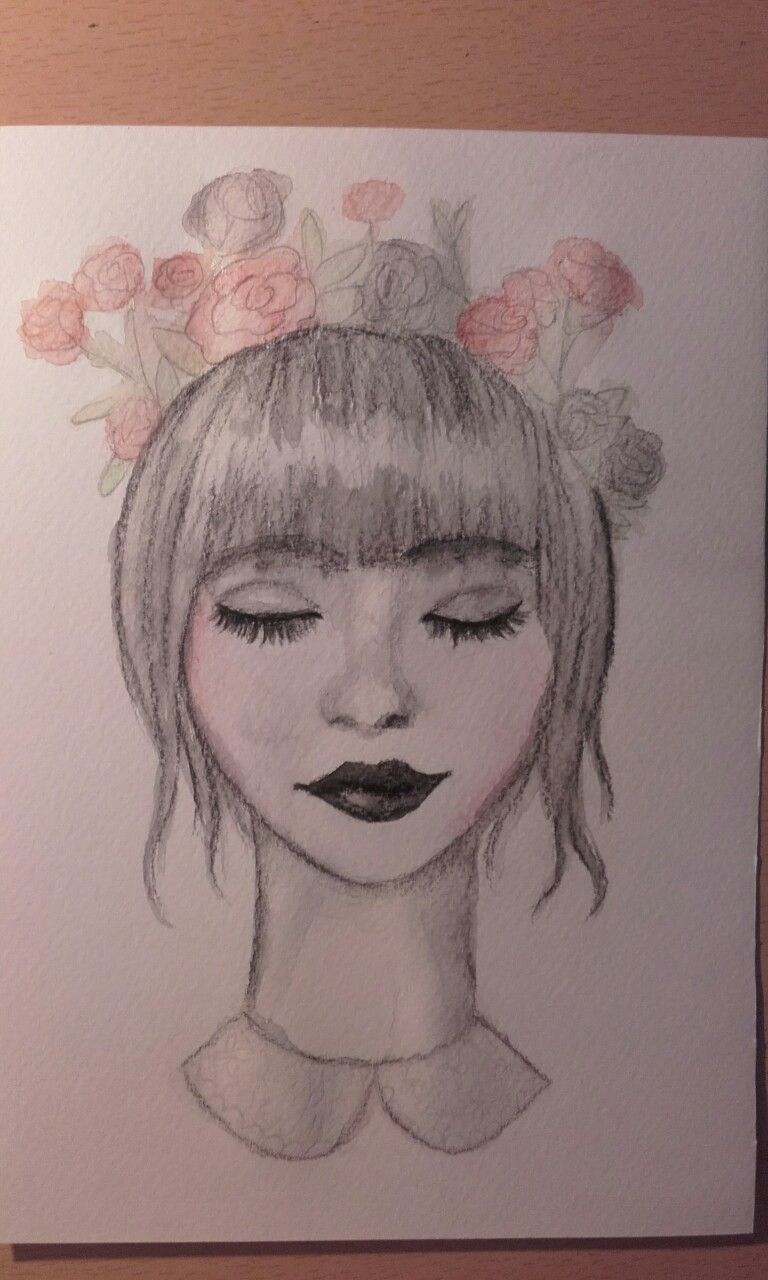 Girl with flower crown my drawings pinterest flower crowns