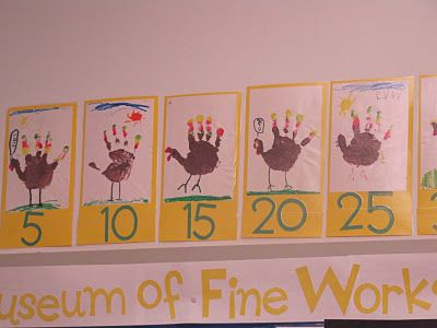 Counting by 5's using Thanksgiving turkeys...could do this with bunny ears at Easter for 2s too
