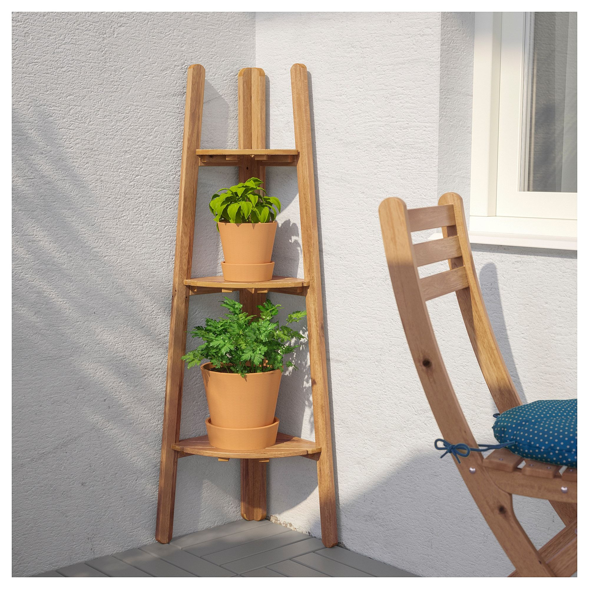 ASKHOLMEN Plant stand light brown stained grey brown