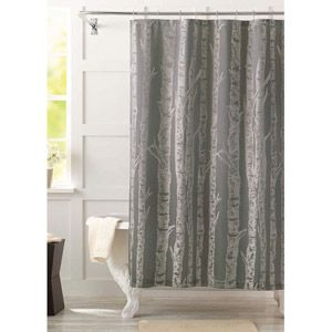 Better Homes And Gardens Birch Fabric Shower Curtain Gray
