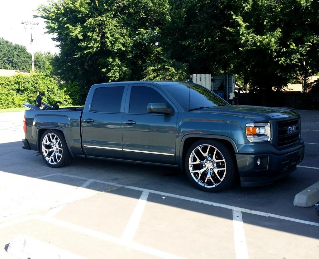 My 2014 Sierra Then Now Lowered On Replicas Chevy Truck Forum Gmc Truck Forum Gmc Trucks Chevy Trucks Dropped Trucks