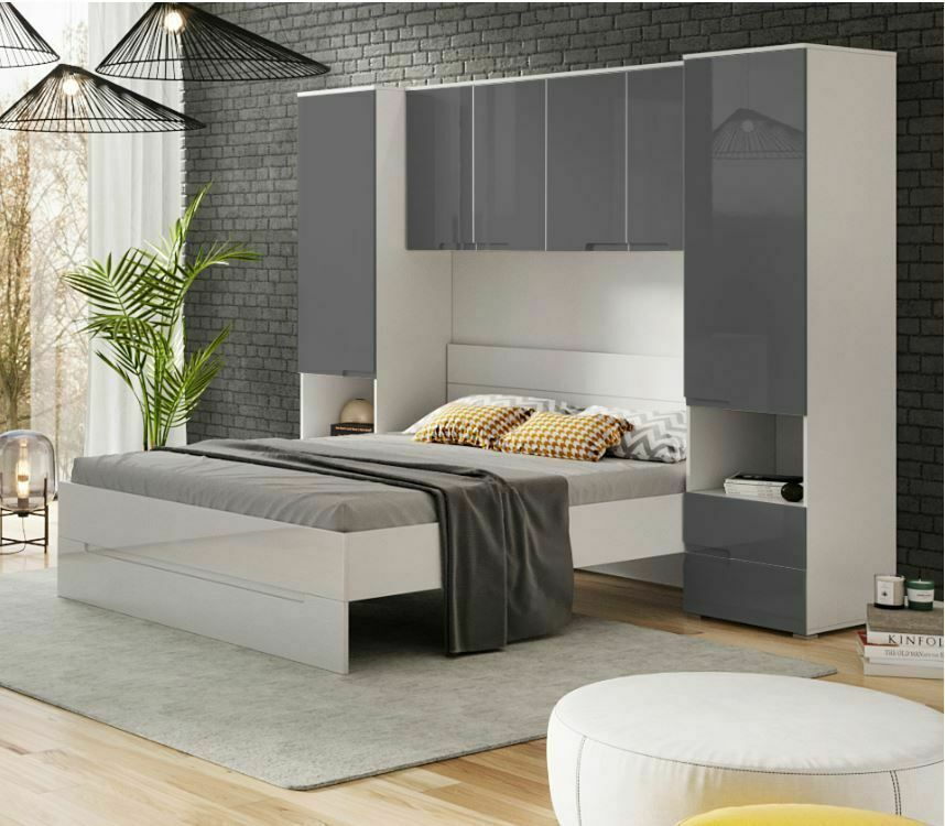 Details about Cellini Grey Gloss & White Over Bed Storage Unit ...