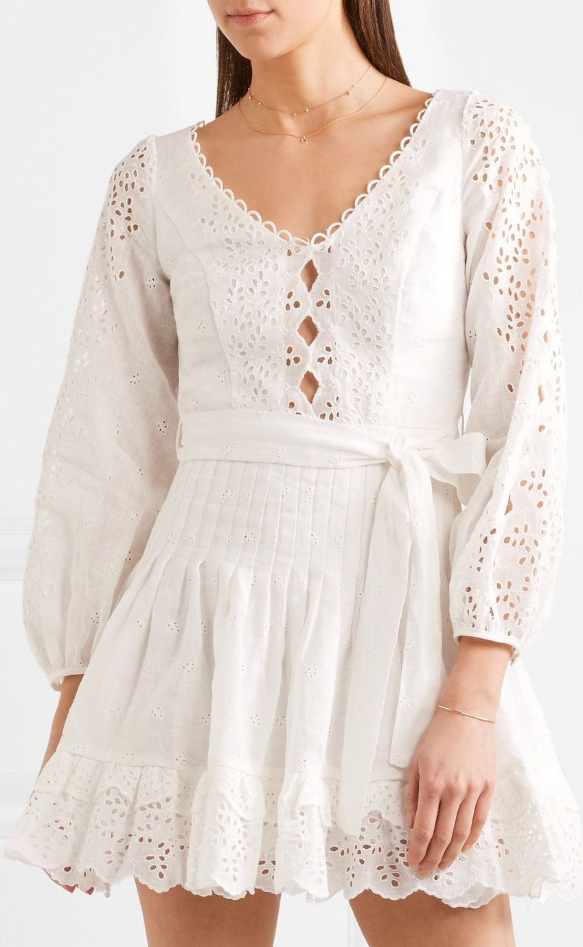 aed7d4224 Broderie Anglaise Linen Mini Dress in 2019 | Fashion | White mini ...