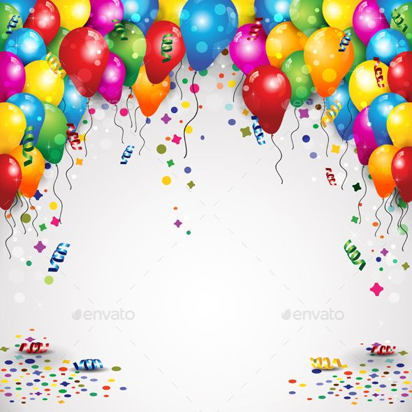 Party Balloons And Confetti Confetti Graphics And Gradient Mesh