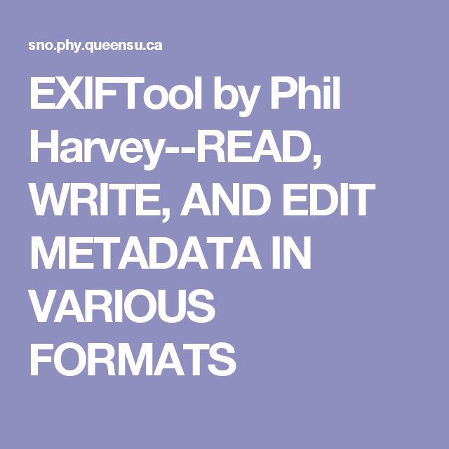Exiftool by phil harvey download