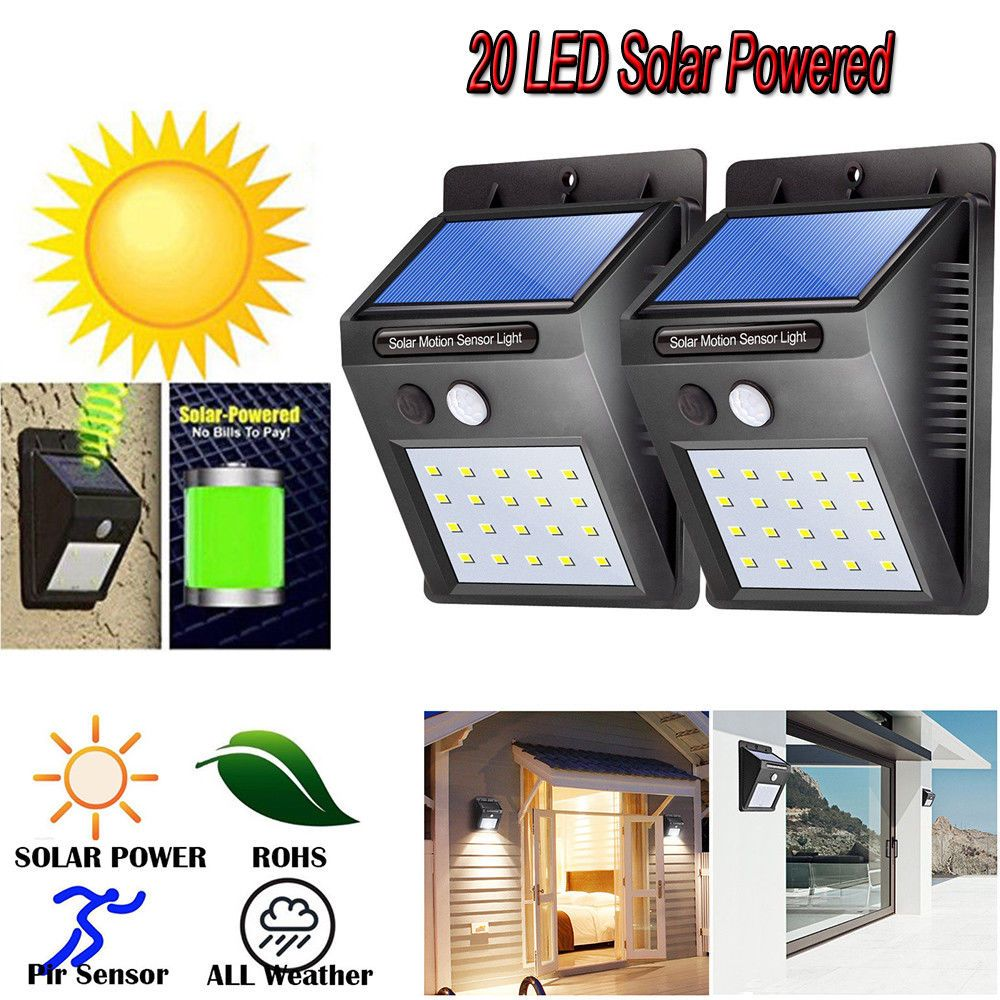 Waterproof 20 Led Solar Power Pir Motion Sensor Wall Light Outdoor Garden Lamp Outdoor Wall Lighting Garden Lamps Motion Sensor