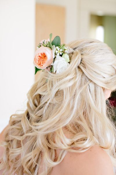 Half up wedding hair tied with flowers: http://www.stylemepretty.com/canada-weddings/2014/01/27/okanagan-winery-wedding/ | Photography: Adrian Weddings - http://www.adrianphotography.ca/