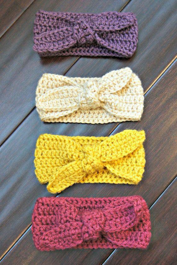 Crochet Top Knot Headband, Baby Headband, Baby Earwarmer, Earwarmer ...